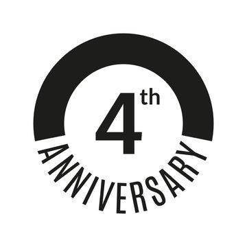 4 year anniversary icon. 4th celebration template for banner, invitation, birthday. Vector illustration.