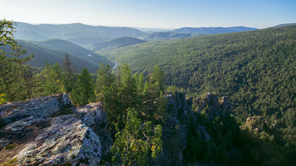 Beautiful view from top of the mountain, Russia, Ural, Bashkortostan.