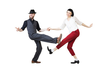 Lindy hop or rock'n'roll dance boogie woogie. Boogie acrobatic stunt in a studio background. Dance...