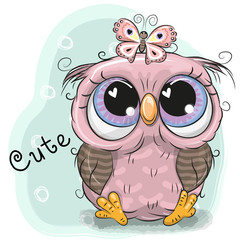 Cute Owl girl isolated on a blue background