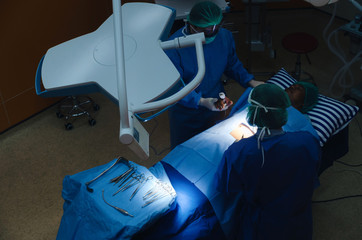 top view of group of Doctor and Assistant surgeons work for rescue patient in operation room at hospital, emergency case, surgery, medical technology, health care cancer and disease treatment concept