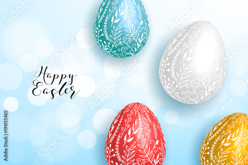 happy easter greeting card with chocolate eggs easter layout design
