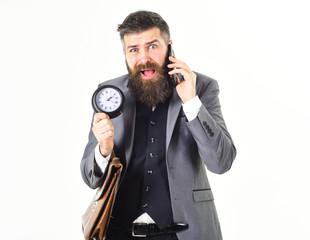Bearded man has no time
