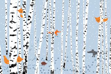 wild animals in a winter forest