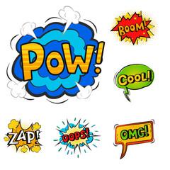 Pop art comic speech bubble boom effects vector explosion bang communication cloud fun humor book splash illustration.