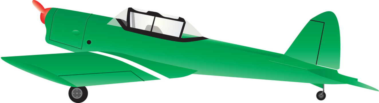 A Green Single Engine Training Plane isolated on white