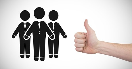 Thumbs up with people group icon