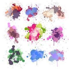 Set Colorful watercolor splashes. Modern design background for your design.