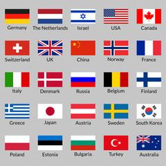 Flag icon set. National flags of USA, UK, Holland, Germany, Italy, Canada, France, Russia, China, Finland, Norway, Sweden, Australia,  Israel, Japan, Switzerland, Korea, Belgium, Finland. Vector.