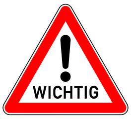 sd66 Schild-Dreieckig - german: Hinweis Zeichen - Achtung / WICHTIG - Ausrufezeichen - Dreieck - xxl g5884