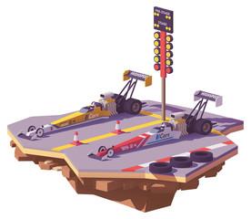 Vector low poly top fuel drag race