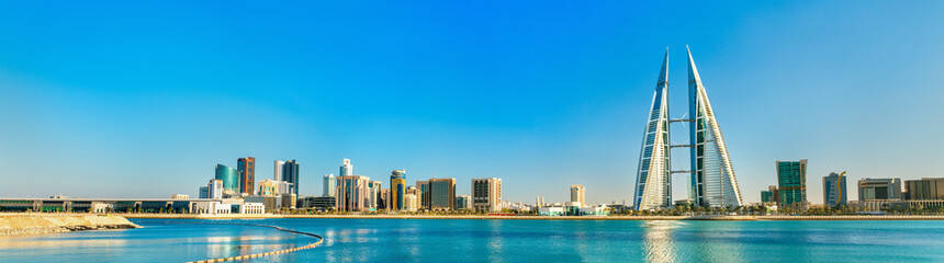 Poster Midden Oosten Skyline of Manama Central Business District. The Kingdom of Bahrain