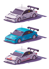 Vector low poly touring racing car