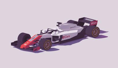 Vector low poly formula racing car