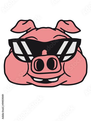 Gesicht Kopf Cool Sonnenbrille Groß Dick Fett Schwein Eber Ferkel