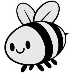 Kawaii Bee Illustration - A vector cartoon illustration of a cute Kawaii Bee.