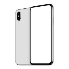 White rotated smartphones mockup front and back sides one behind the other isolated on white background
