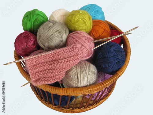 Yarn Wool Knitting Ball Thread Craft Knit Isolated Basket