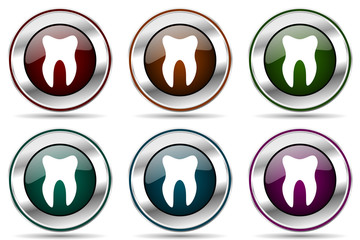 Tooth vector icon set. Silver metallic chrome border icons for web design and smartphone applications