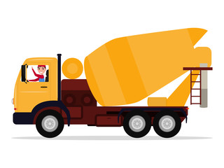 Vector cartoon driver man on truck concrete mixer