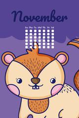 Cute chipmunk calendar cartoon