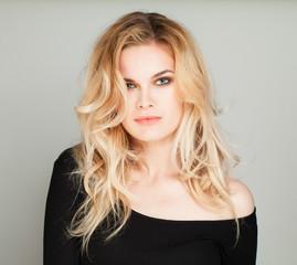 Beautiful Female Face. Blonde Woman Portrait