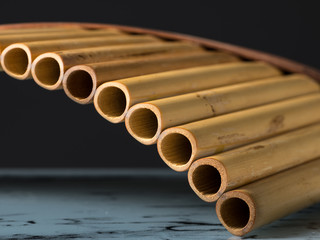 Detailed closeup view of a pan flute