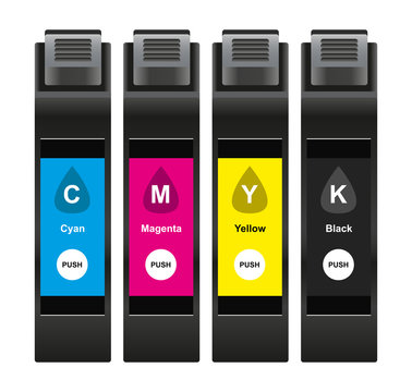 Vector illustration of CMYK ink cartridges which consist of cyan, magenta, yellow and black isolated on white background