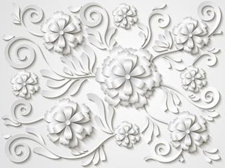 Beautiful vintage white floral background with 3d flowers and leaves. Vector illustration