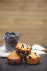 Homemade Blueberry Muffins on a Slate Board