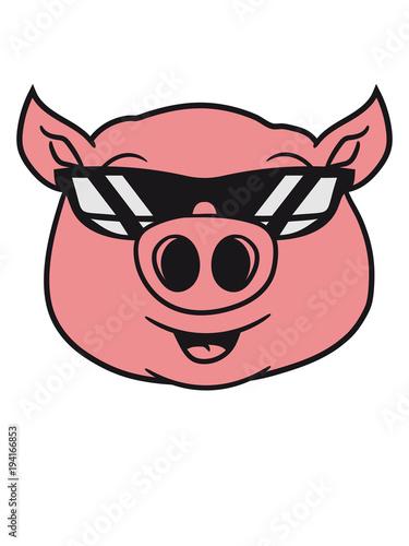 Cool Sonnenbrille Schwein Gesicht Kopf Süß Niedlich Comic Cartoon