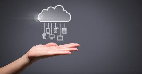Hand with cloud icon and hanging connection devices