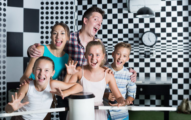 Young family is satisfied of visit