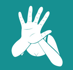 Woman stretching out hand for self-defense. Creative vector for stop violence against women design illustration. EPS10.