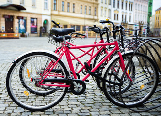 Bicycle parking in a European city. A healthy lifestyle.