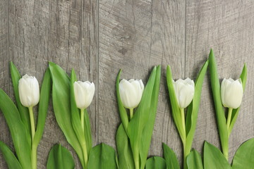 WHITE TULIPS LADE ON A WOODEN TABLE