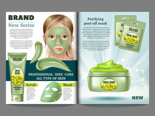 Cosmetic magazine template, green  clay mask and scrub. Mask of green beans. Advertising skin care purifying peel-off. 3d vector realistic illustration.