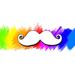 Vector mustache painted colorful background