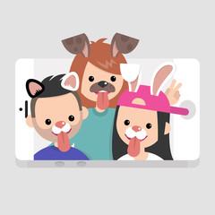 Millennials wearing animal masks. International friends having fun. Lifestyle technologies. Mobile application. Flat editable vector illustration, clip art