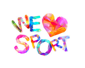 We love sport. Triangular letters