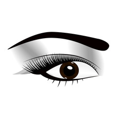 woman fresh makeup look with perfectly perfectly shaped eyebrows and extra full lashes. Idea for business visit card, typography vector.Perfect salon look