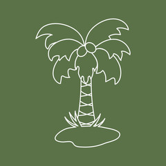 Cute vector icon of the palm tree.