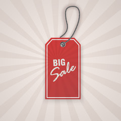 Realistic discount red tag for sale promotion. vintage label template. Vector illustration