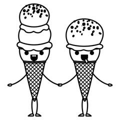 delicious ice cream couple kawaii character vector illustration design