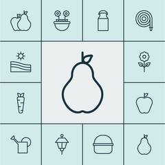 Farm icons set with milk can, farm field, hose and other bloom  elements. Isolated vector illustration farm icons.