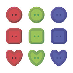multi-colored buttons round, square and heart-shaped red, green and blue