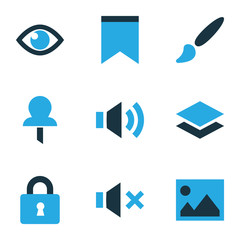 User icons colored set with layer, eye, sound and other vision  elements. Isolated vector illustration user icons.