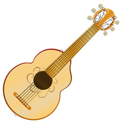 Acoustic cartoon guitar with six strings. vector