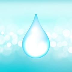 Vector water drop on the boken lights background