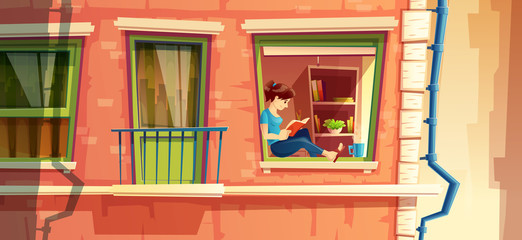Vector illustration section of building facade with girl reading the book on the window of multi-storey apartment, building outside concept. Reader, dreamer outdoors. Architecture of town, cityscape